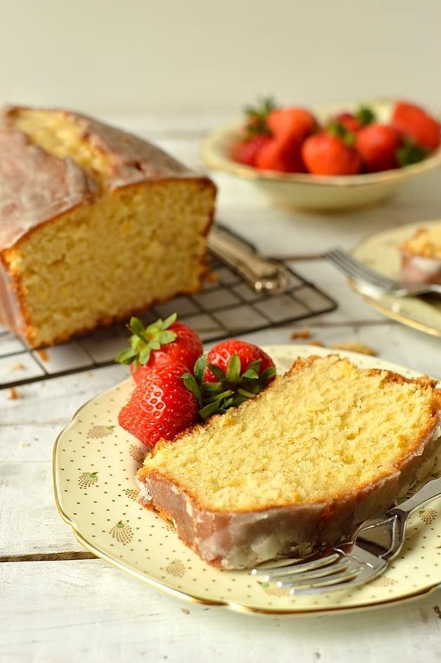 Lemon & cardamom sour cream pound cake
