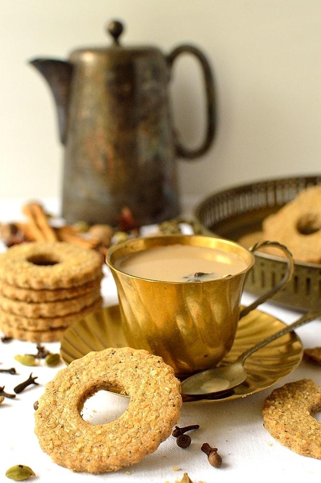 Masala chai tea spiced rye shortbread cookies