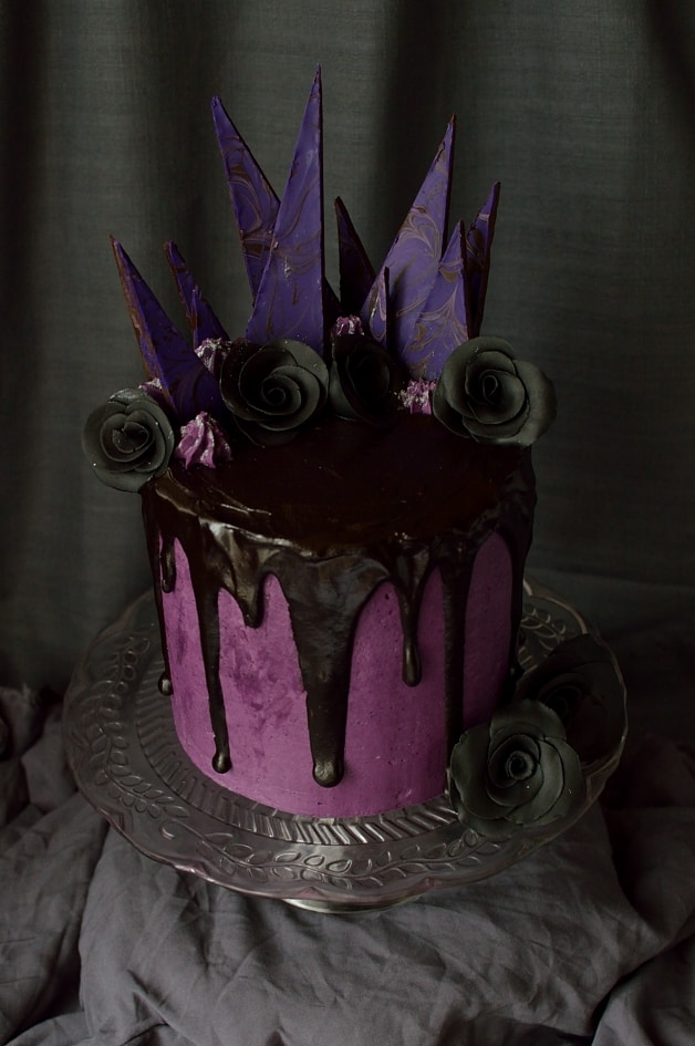 Chocolate & blackberry Halloween cake; three layers of moist chocolate cake with blackberry jam, swiss meringue buttercream & ganache