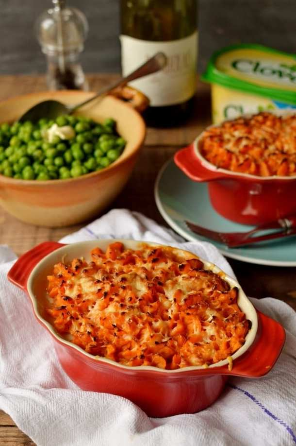 Vegetarian cottage pie with garlic butter sweet potato mash - Domestic Gothess