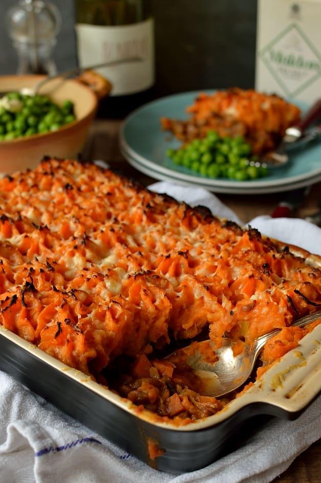 Vegetarian lentil shepherds pie with garlic butter sweet potato mash - Domestic Gothess