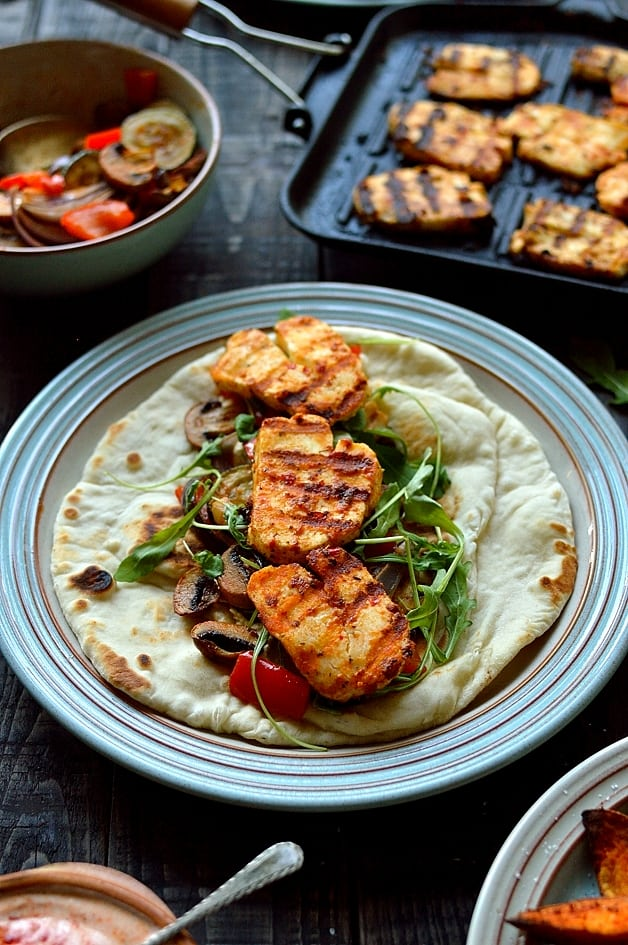 Harissa Halloumi & Roasted Vegetable Wraps & Sweet Potato Wedges | 10 Scrumptious Ways To Serve Halloumi Cheese This Winter Season