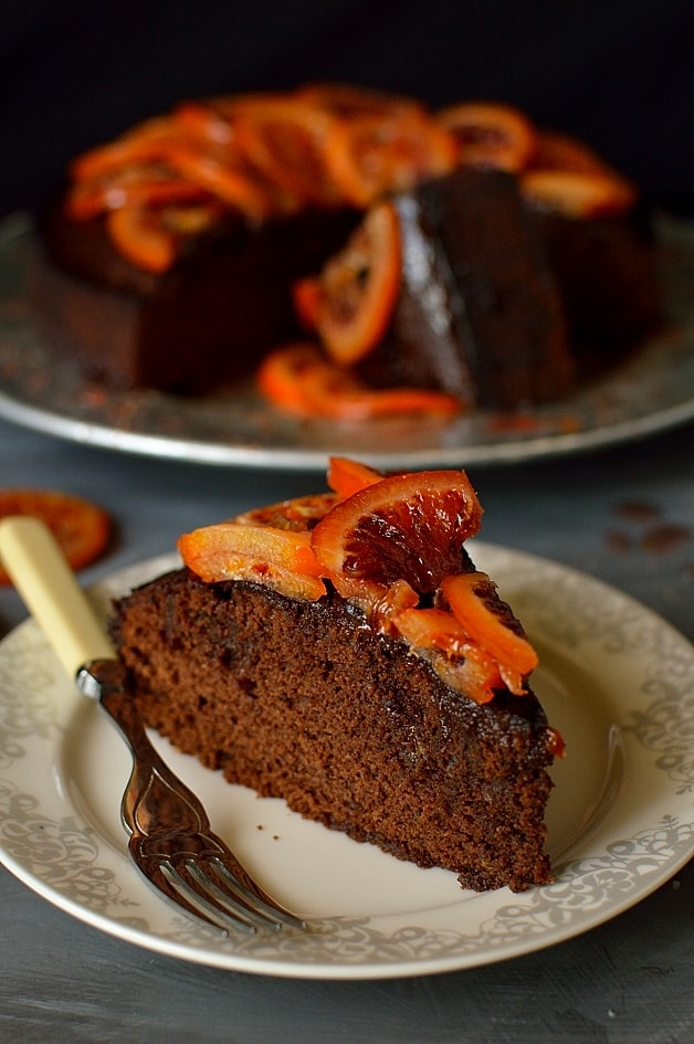 Chocolate, olive oil and rosemary cake with candied blood oranges; moist, fragrant and delicious