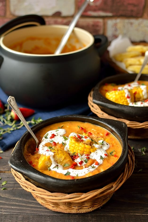 Creamy spiced yellow split pea, sweetcorn and coconut soup with cheesy arepas, hearty, warming and healthy