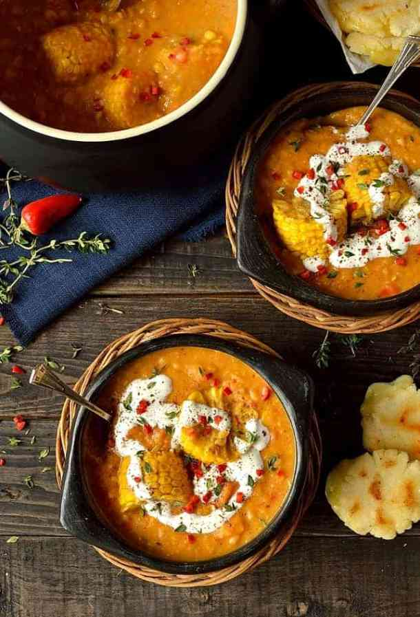 Spiced yellow split pea and sweetcorn soup with cheesy arepas (corn griddle cakes)