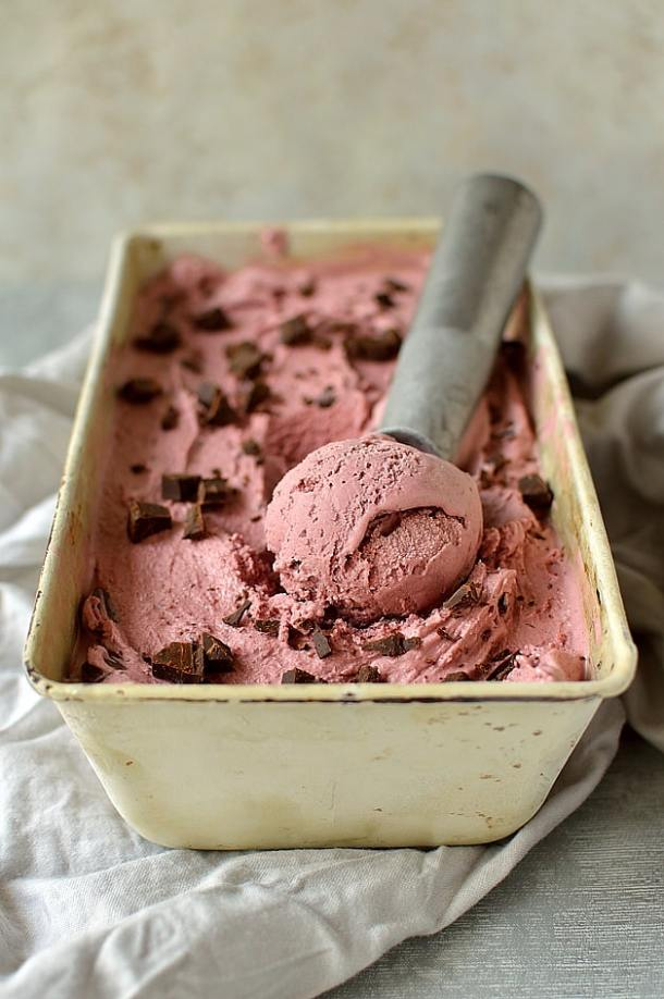 Balsamic roasted cherry ice cream with chocolate chunks