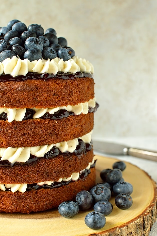 Blueberry banana buckwheat layer cake with vanilla mascarpone cream