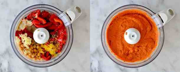 roasted red pepper and chilli hummus step 2