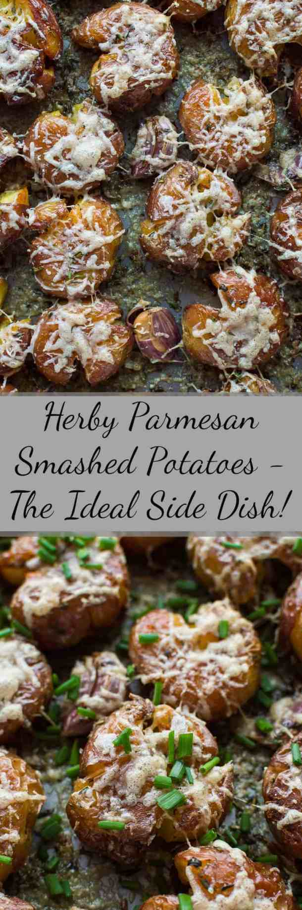 Herby parmesan smashed potatoes - soft on the inside, crispy on the outside, these are the ultimate side-dish!