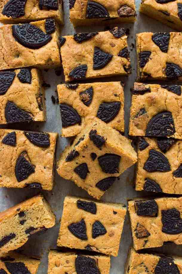 Top down photograph of peanut butter Oreo blondie squares.