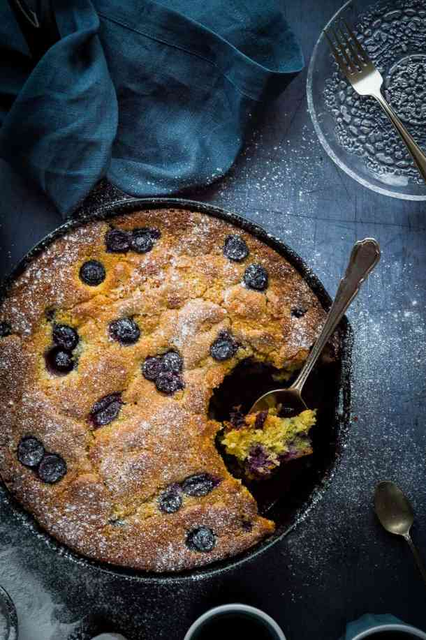 Blueberry cornmeal snack/breakfast cake