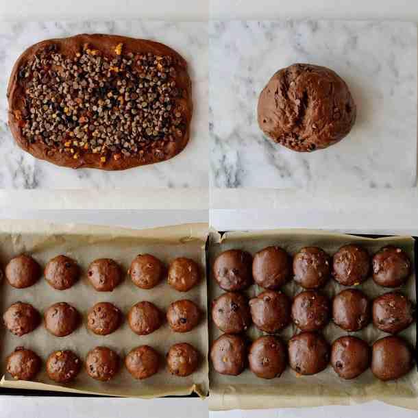 chocolate orange hot cross buns step 4