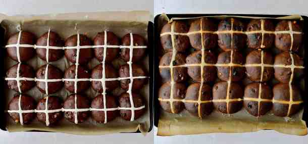 chocolate orange hot cross buns step 6