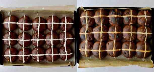 chocolate orange hot cross buns step 6
