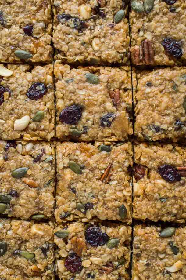 Close-up of squares of vegan fruit and nut flapjacks