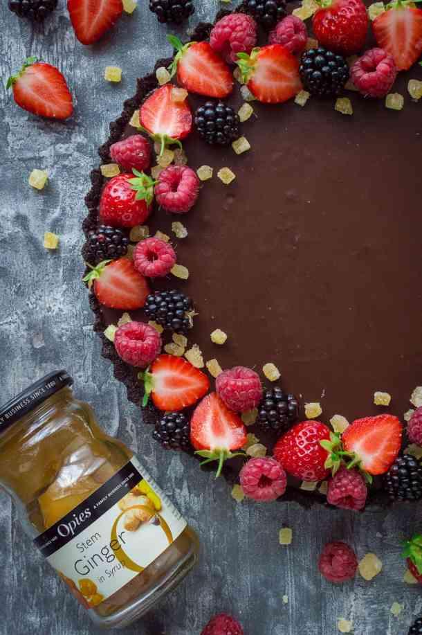 no-bake chocolate tart with a jar of Opies stem ginger
