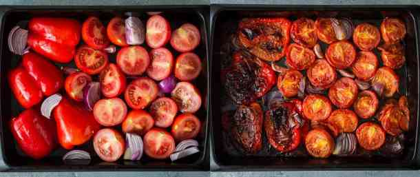 creamy roasted red pepper tomato pasta step 2 - roasting the vegetables