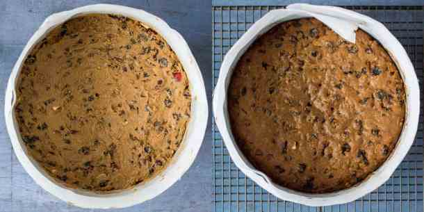 vegan christmas cake step 4 - baking the cake