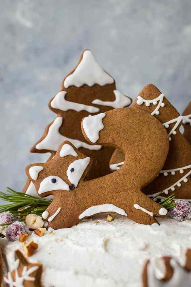 close up of vegan gingerbread fox cookie