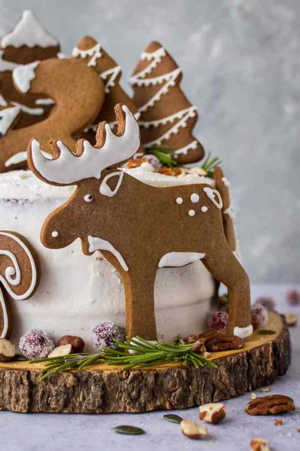 close up of vegan gingerbread moose cookie