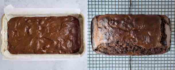 vegan chocolate banana bread step 3 - baking the banana bread