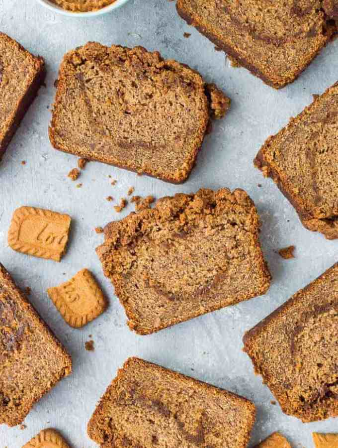 Vegan biscoff banana bread - this deliciously moist vegan banana bread is swirled with biscoff cookie butter and topped with a biscoff streusel. Banana bread but better! #vegan #bananabread