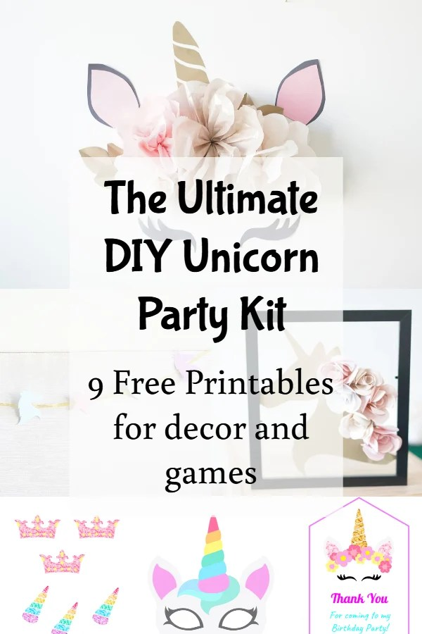 photograph regarding Free Unicorn Printable named Do it yourself Unicorn Birthday Package (9 No cost Printables and Templates