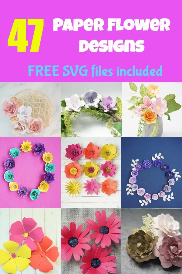 free paper flower templates set