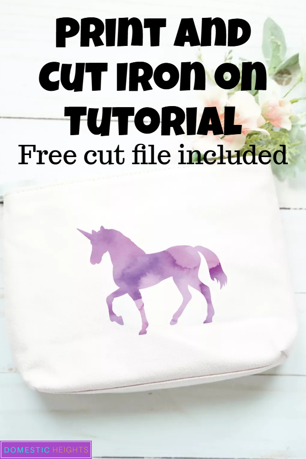 cricut print and cut iron on project tutorial, free unicorn watercolor cut file