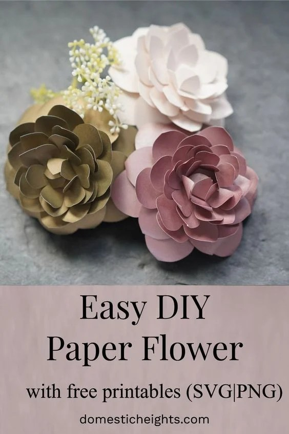 easy paper flower template, free flower svg cut file and printable pattern and tutorial