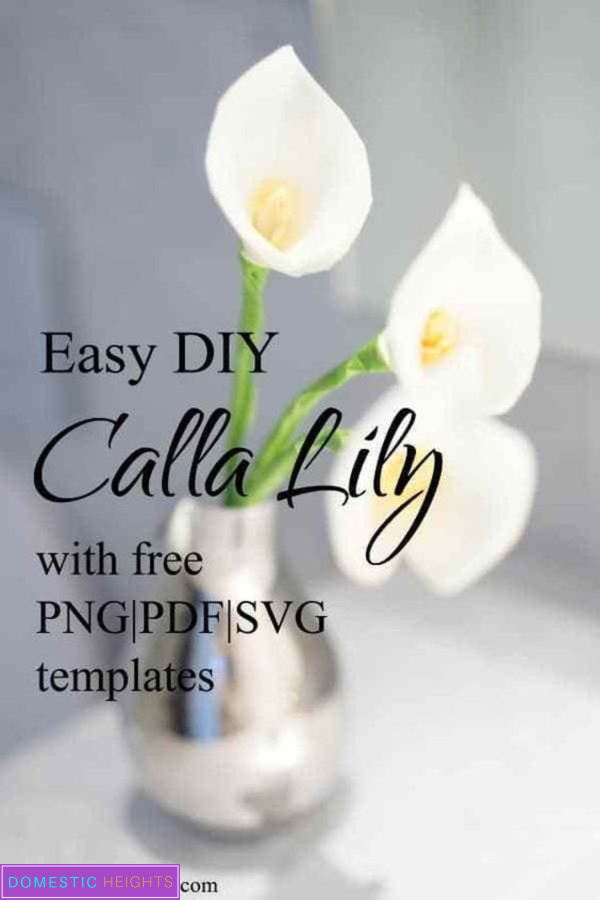 diy paper flower, calla lily bouquet, free printable template