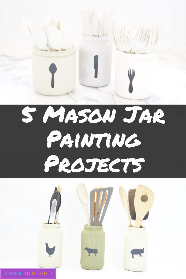 DIY mason jar crafts for home, easy painted decorations for kitchen