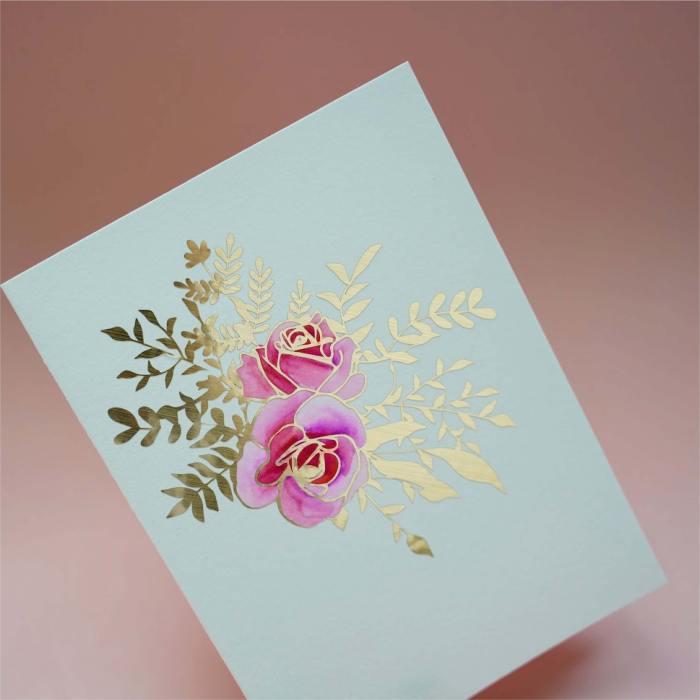 floral vinyl card