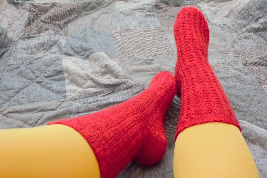 DOMESTIC STRATA // Hand Knit Socks Made From FRee Blueberry Waffle Sock Pattern