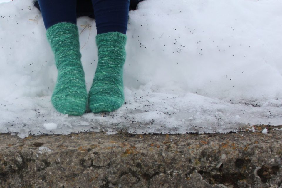 Madeleine Roberg of Domestic Strata wearing Business Casual Hand Knit Wool Socks