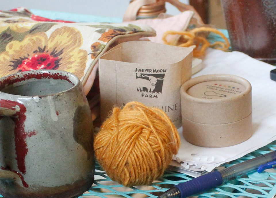 Left-over skein of yarn with ceramic mug by Jason Garber of Domestic Strata