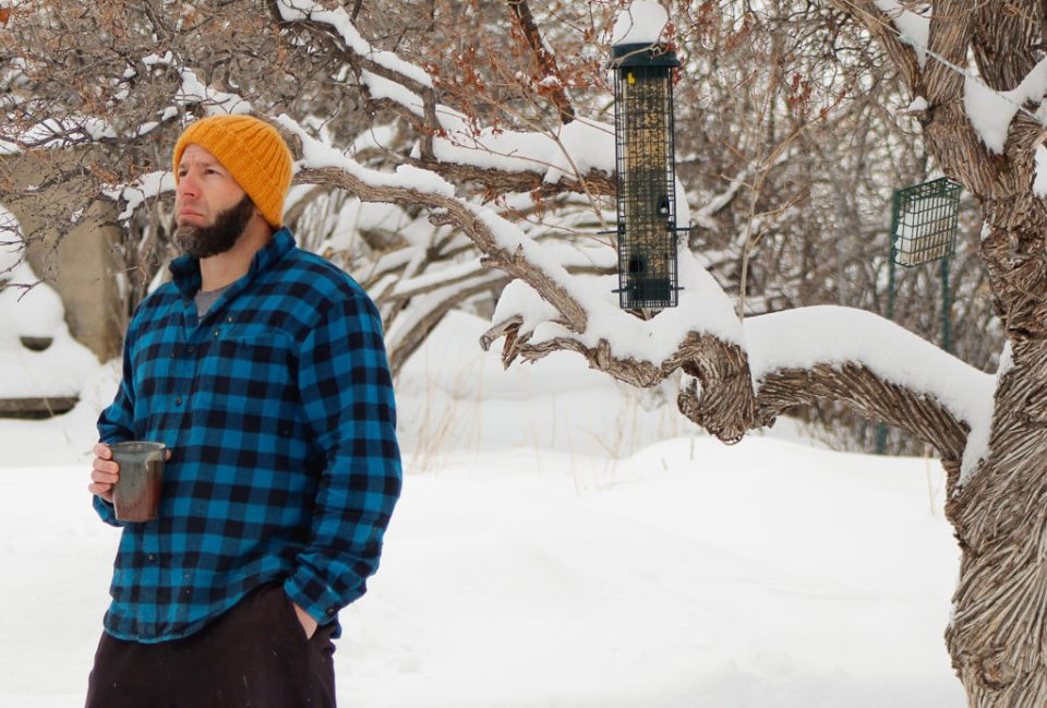 Jason Garber of Domestic Strata wearing hand knit beanie from Two By Two free knitting pattern.