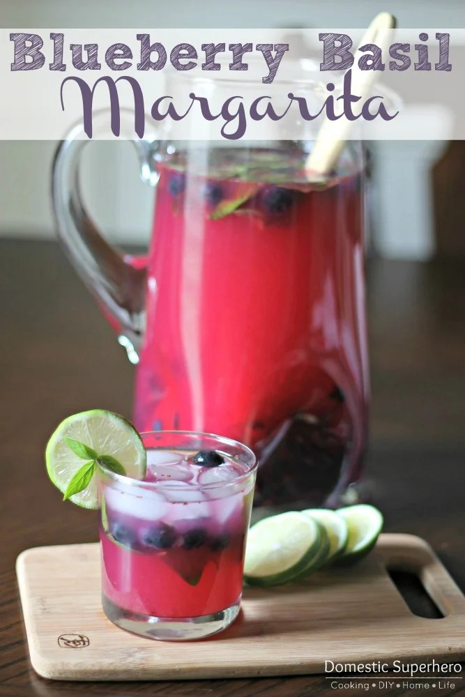 Blueberry Basil Margaritas {Domestic Superhero}