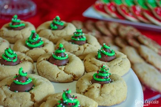 Christmas Tree Peanut Butter Blossoms