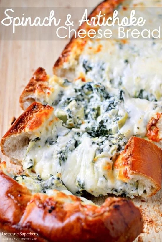 Cheese bread on a board.