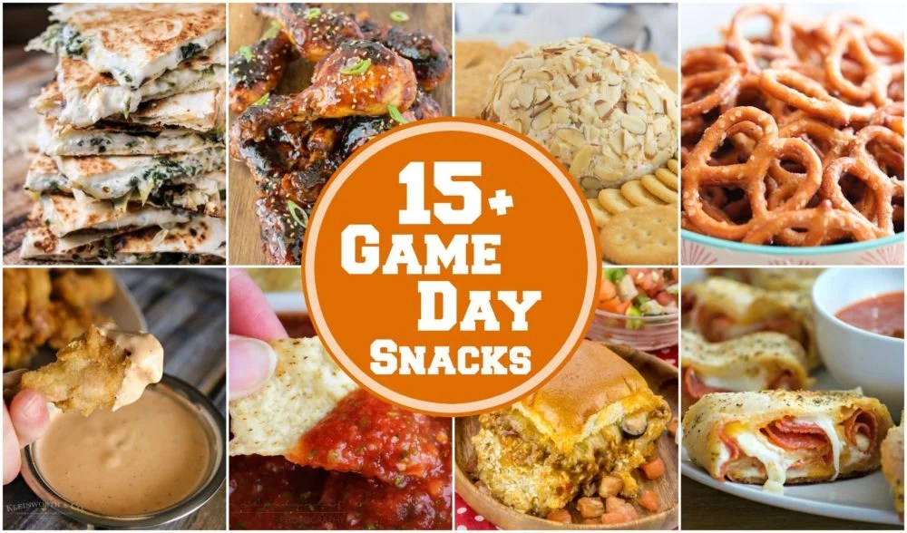 Collage of game day snacks.