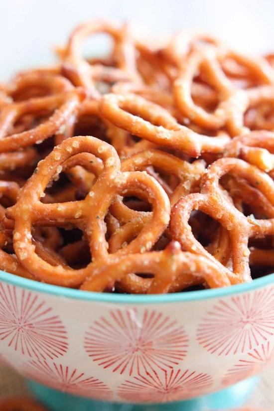 Bowl of pretzels.
