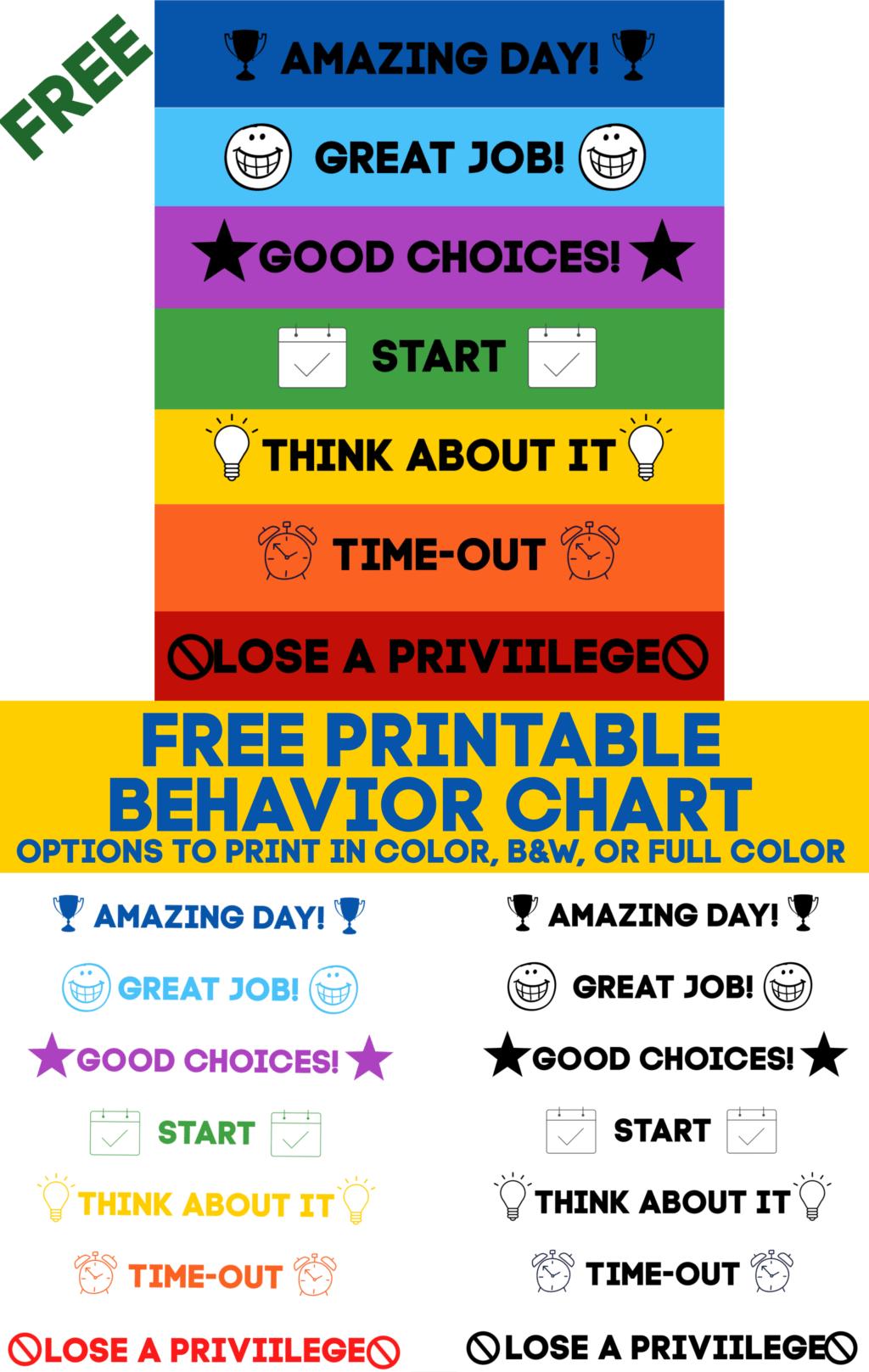 Printable Behavior Chart Free Download 10 More Free