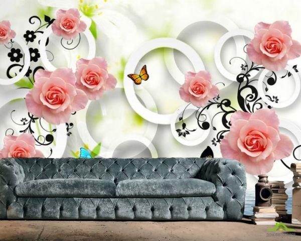 ДОМ фотообоев 】 «Фотообои 3д розы», (арт. 22585) - купить ...