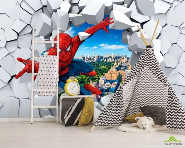 ДОМ фотообоев 】 «Фотообои Человек паук 3Д», (арт. 20067 ...