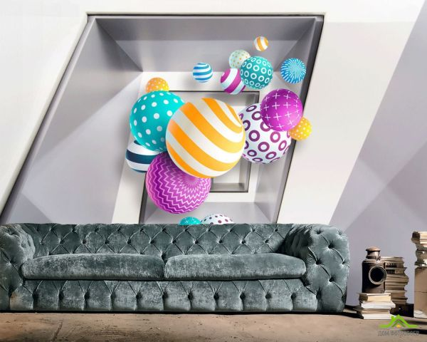 ДОМ фотообоев 】 «Фотообои Разноцветные шары 3д», (арт ...