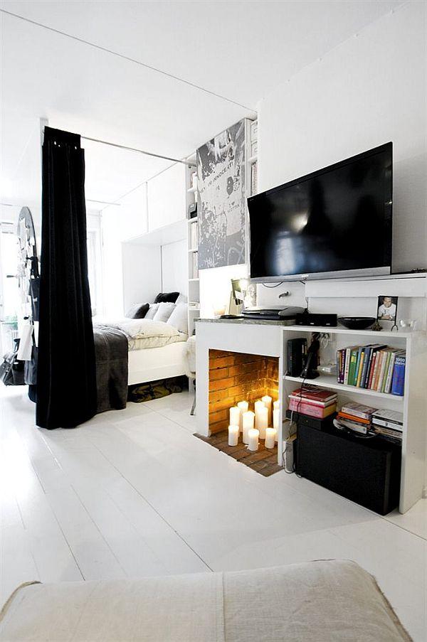 Czarno białe mieszkanie. Przestrzeń typu open space