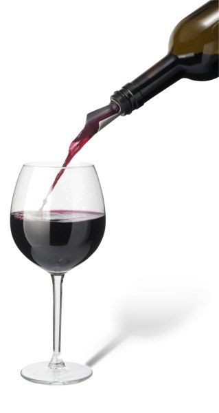 dozownik do wina w kształcie stalówki, nalewanie wina do kieliszka