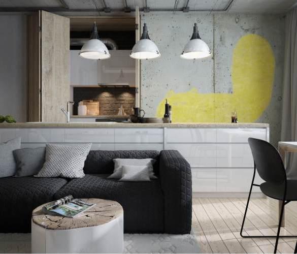 czarna sofa pikowana, ściana z betonu, rysunek kota w salonie