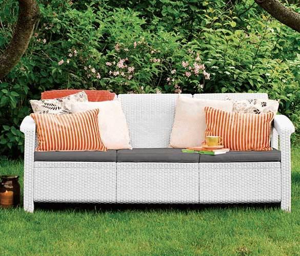 kanapa do ogrodu, kanapa ogrodowa z poduszkami